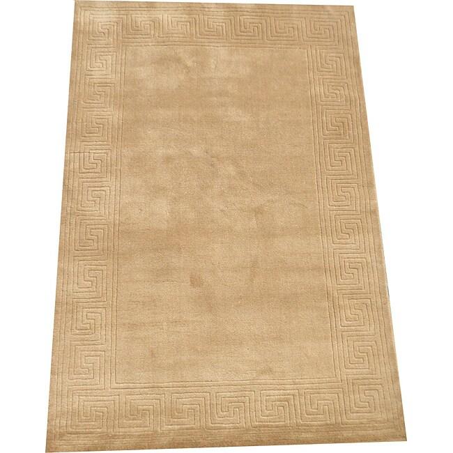 Indo Hand-loomed Beige Wool Rug (4' x 6')