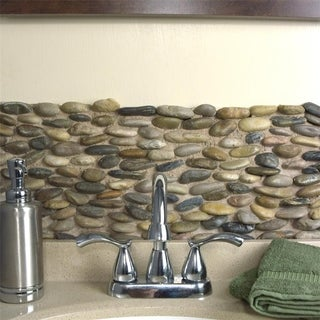 SomerTile 4x12-in Riverbed Horizon Multi Natural Stone Mosaic Tile (Pack of 12)