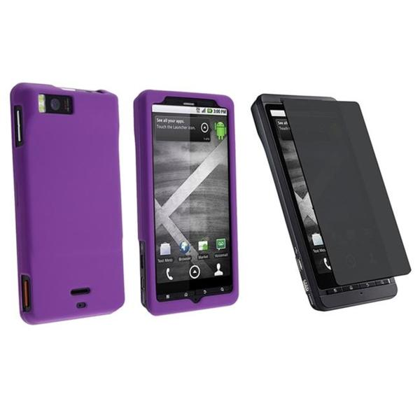 Dark Purple Rubber Case/ Privacy Filter for Motorola Droid X/ Droid X2 Daytona