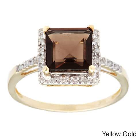Viducci 10k Gold Smokey Quartz and 1/10ct TDW Diamond Ring (G-H, I1-I2)