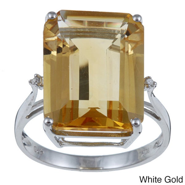 Viducci 10k Gold Octagon-cut Citrine and Diamond Accent Ring