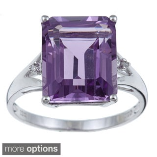 Viducci 10k Gold Amethyst and 1/10ct TDW Diamond Ring (G-H,I1-I2)