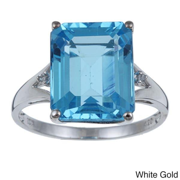 Viducci 10k Gold Blue Topaz and 1/10ct TDW Diamond Ring (G-H,I1-I2)