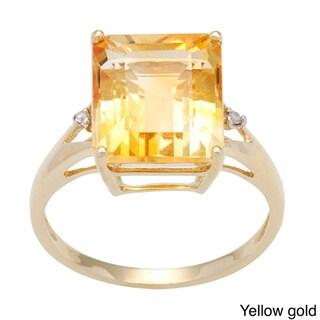 Viducci 10k Gold Citrine and 1/10ct TDW Diamond Ring (G-H, I1-I2)