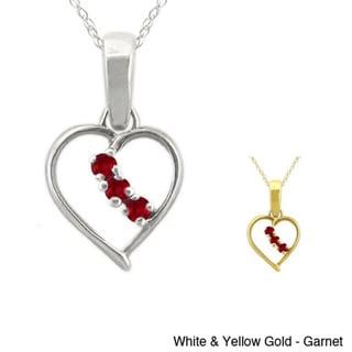 10k Gold Birthstone 3-stone Heart Necklace