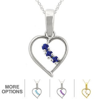 10k Gold Birthstone 3-stone Heart Necklace