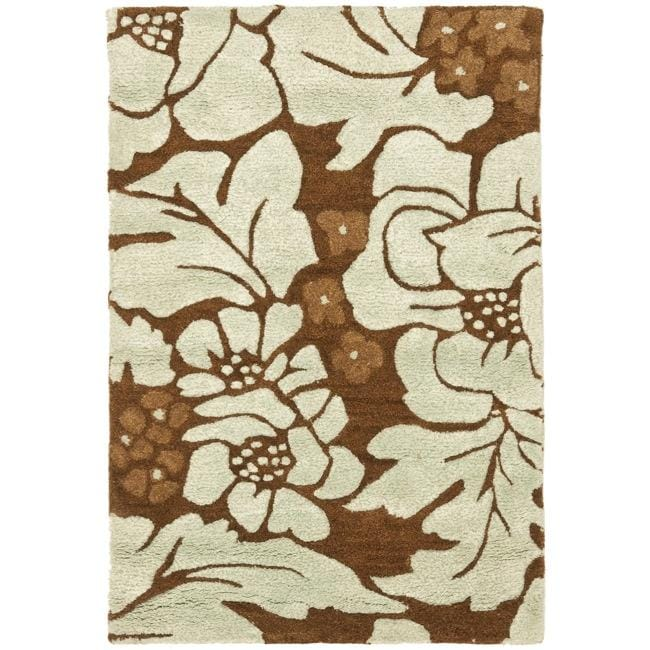 Safavieh Handmade Garden Chocolate/ Light Blue N. Z. Wool Rug (2' x 3')