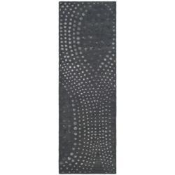 Safavieh Handmade Soho Abstract Wave Dark Grey Wool Runner Rug (2' 6 x 12')