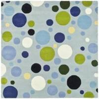 Safavieh Handmade Bubblegum Light Blue/ Multi N. Z. Wool Rug - 8' x 8' Square