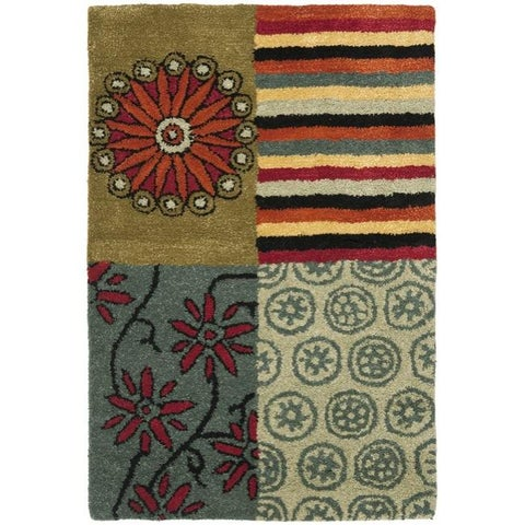 Safavieh Handmade Soho Patchwork Multi New Zealand Wool Rug - 2' x 3'