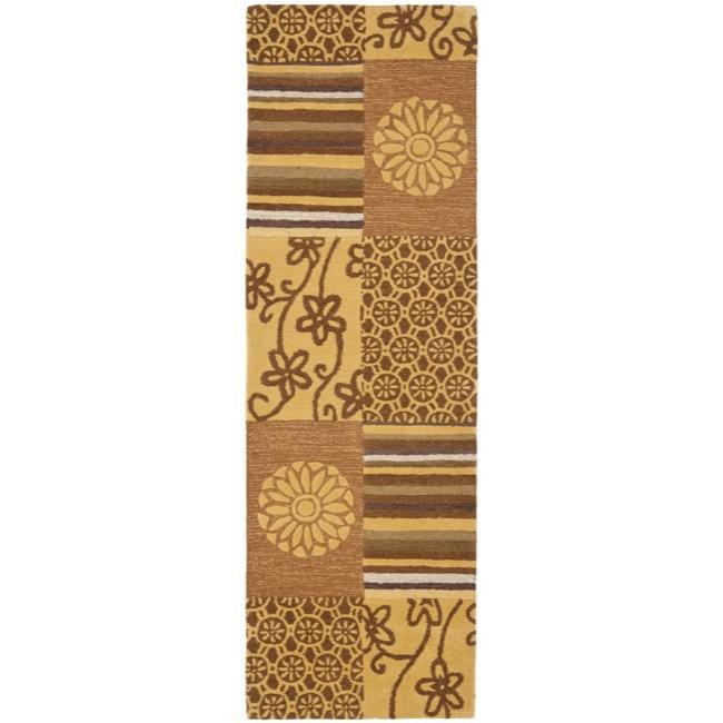 "Safavieh Handmade Soho Patches Beige/ Multi N. Z. Wool Runner (2'6 x 12') - 2'6"" x 12'"