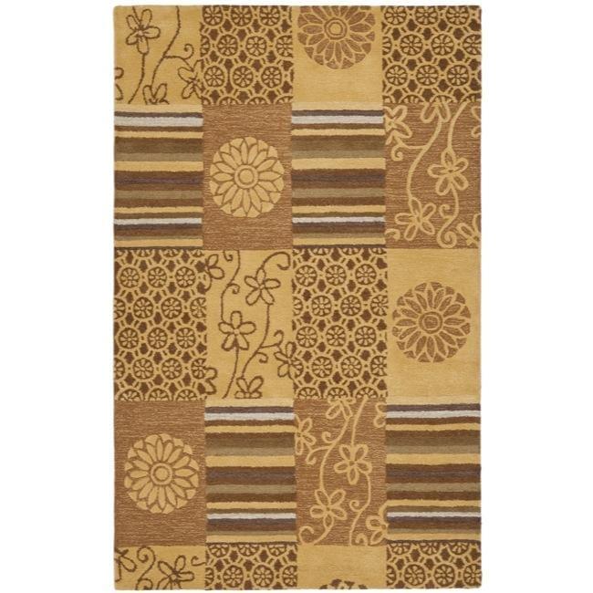 Safavieh Handmade Soho Patches Beige/ Multi N. Z. Wool Rug - 7'6 x 9'6