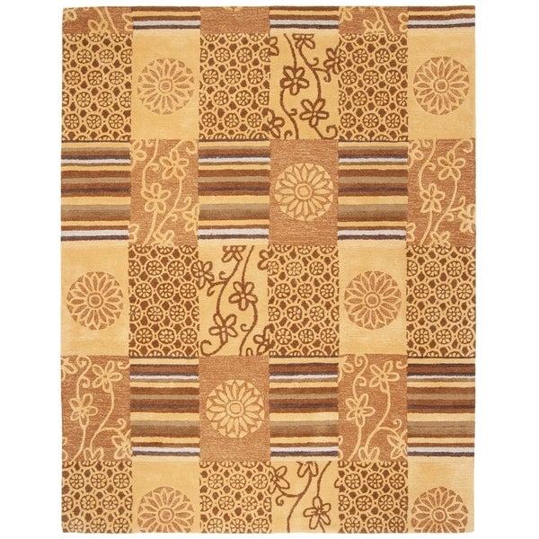 "Safavieh Handmade Soho Patches Beige/ Multi N. Z. Wool Rug - 7'6"" x 9'6"""