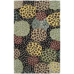 Safavieh Handmade Soho Expand Black/ Multi N. Z. Wool Rug (3'6 x 5'6')