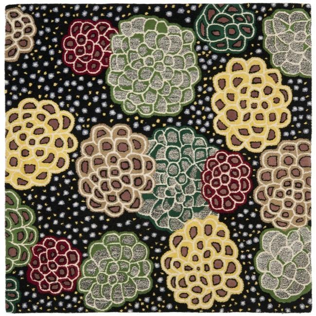 Safavieh Handmade Soho Expand Black/ Multi N. Z. Wool Rug (6' Square)