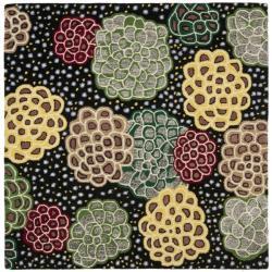 Safavieh Handmade Soho Expand Black/ Multi N. Z. Wool Rug (6' Square) - 6' - Thumbnail 0