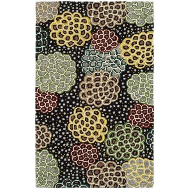Safavieh Handmade Soho Expand Black/ Multi N. Z. Wool Rug (7'6 x 9'6)