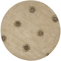 Safavieh Handmade Soho Zen Beige/ Brown New Zealand Wool Rug (6' Round)
