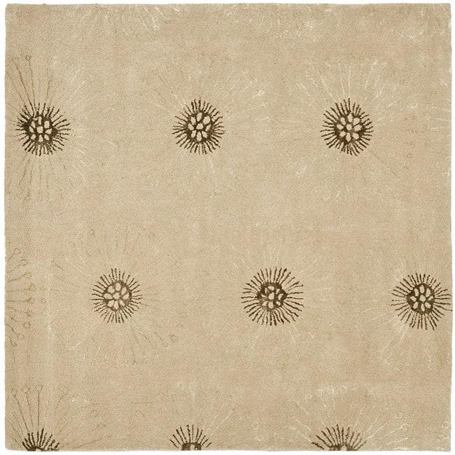 Safavieh Handmade Soho Zen Beige/ Brown New Zealand Wool Rug (6' Square)