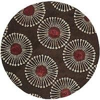 Safavieh Handmade Soho Zen Coffee/ Brown New Zealand Wool Rug - 6' x 6' Round