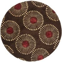 Safavieh Handmade Soho Zen Coffee/ Brown New Zealand Wool Rug - 6' x 6' Round