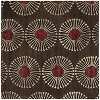 Safavieh Handmade Soho Zen Coffee/ Brown New Zealand Wool Rug (6' Square) - 6' Square