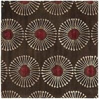 Safavieh Handmade Soho Zen Coffee/ Brown New Zealand Wool Rug - 6' x 6' Square
