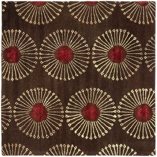 Safavieh Handmade Soho Zen Coffee/ Brown New Zealand Wool Rug - 6' x 6' Square
