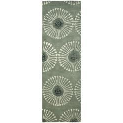 Safavieh Handmade Soho Zen Grey/ Ivory New Zealand Wool Runner - 2'6 x 8'