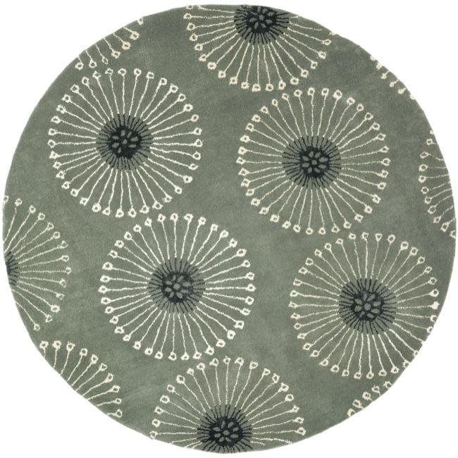 Safavieh Handmade Soho Zen Grey/ Ivory New Zealand Wool Rug (6' Round)