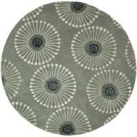Safavieh Handmade Soho Zen Grey/ Ivory New Zealand Wool Rug - 6' x 6' Round