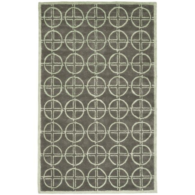 Safavieh Handmade Soho Eternal Deco Grey/ Green N. Z. Wool Rug - 7'6 x 9'6