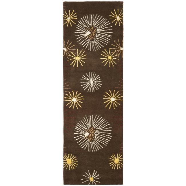 Safavieh Handmade Soho Voyage Brown/ Multi N. Z. Wool Runner (2'6 x 8')