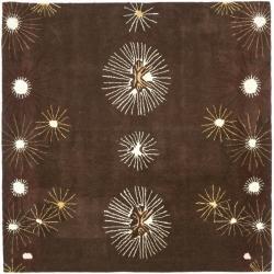 Safavieh Handmade Soho Voyage Brown/ Multi N. Z. Wool Rug (6' Square)
