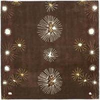 Safavieh Handmade Soho Voyage Brown/ Multi N. Z. Wool Rug - 6' x 6' Square