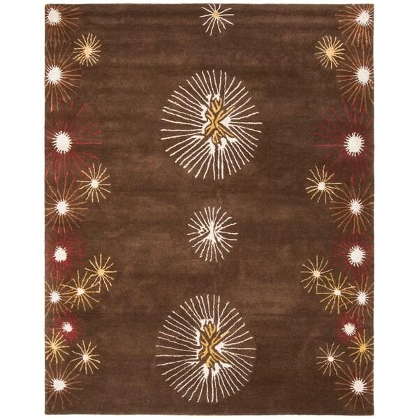 """Safavieh Handmade Soho Voyage Brown/ Multi N. Z. Wool Rug - 7'-6"""" x 9'-6"""""""