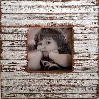 Handmade Recycled Wood White Mini Jigsaw Picture Frame (Thailand)