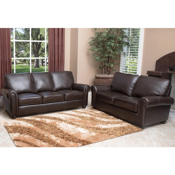 Abbyson London Premium Top-Grain Leather Sofa And Love Seat - Free