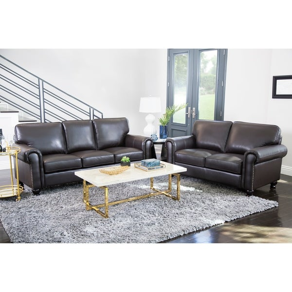 Abbyson London Top Grain Leather 2 Piece Living Room Set Part 23