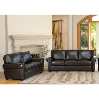 Abbyson London Premium Top-Grain Leather Sofa and Love Seat