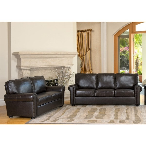 abbyson london premium top grain leather sofa and love seat. Interior Design Ideas. Home Design Ideas