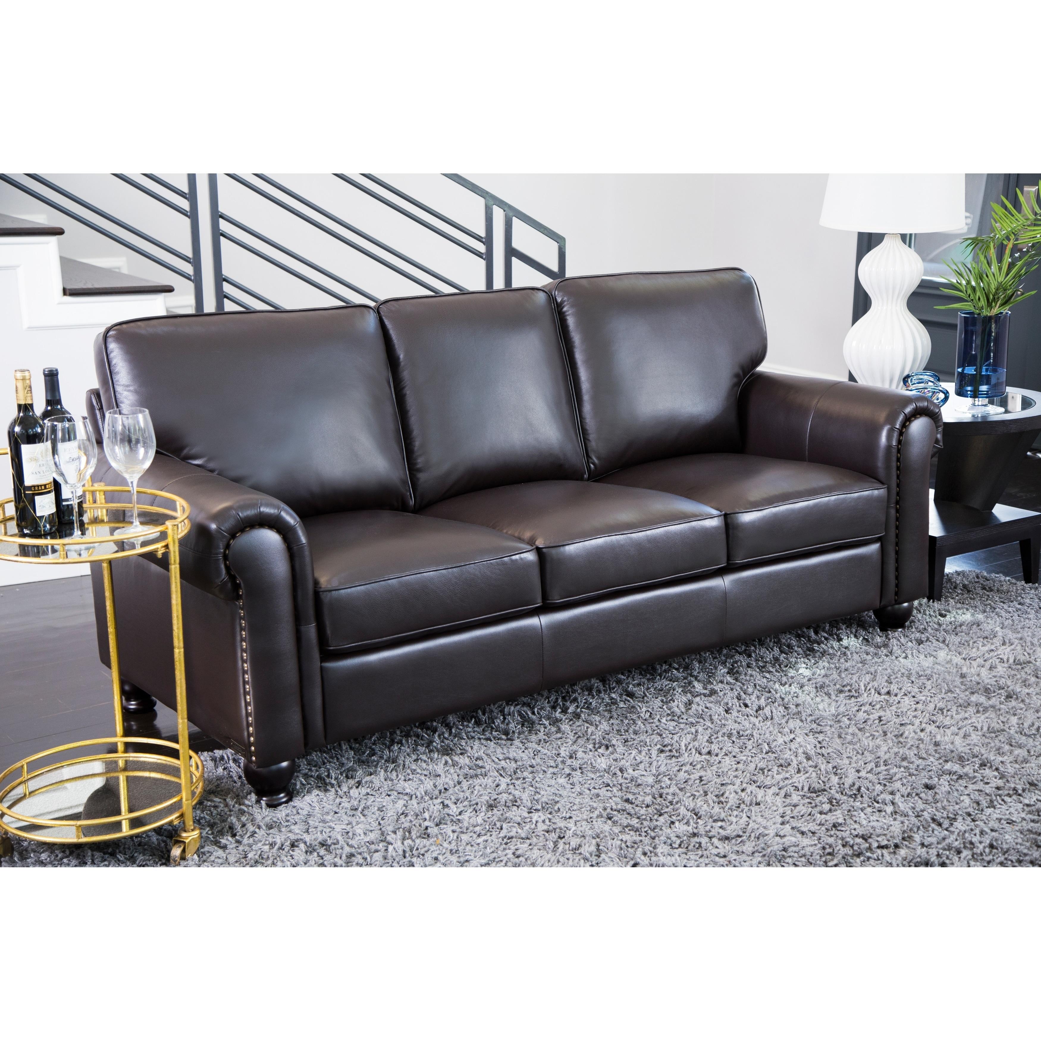 Abbyson Living London Premium Top Grain Leather Sofa And Love Seat