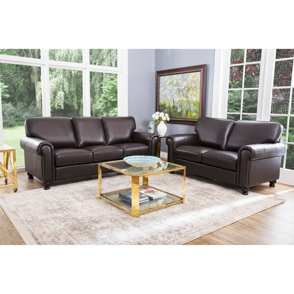 Shop Abbyson London Top Grain Leather 2 Piece Living Room Set On Sale Free Shipping Today