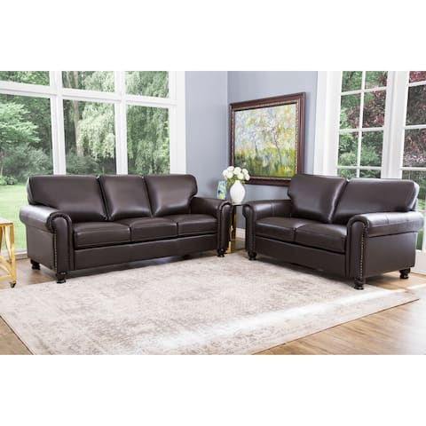 Abbyson London Brown Top Grain Leather 2 Piece Living Room Set