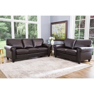 abbyson london premium top grain leather sofa and love seat - Living Room Leather Sofas