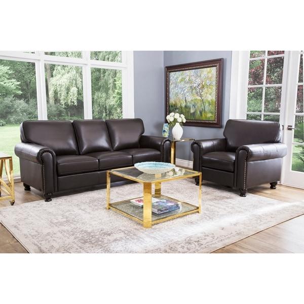 Shop Abbyson London Top Grain Leather 2 Piece Living Room