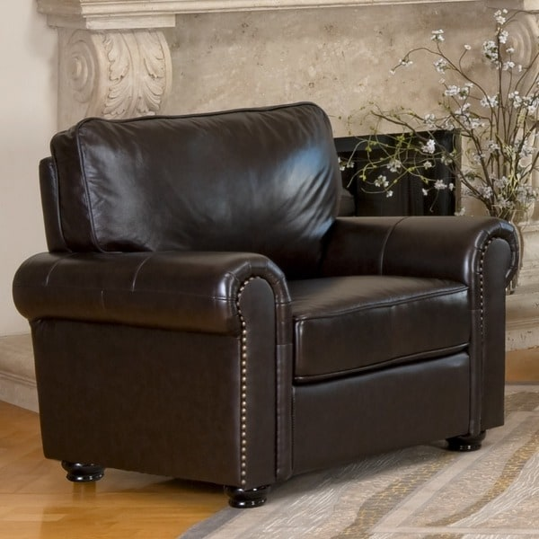 abbyson london premium topgrain leather armchair