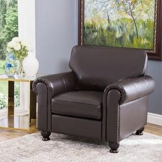 Abbyson London Brown Top Grain Leather Armchair
