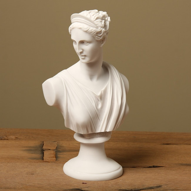 White Marble Statue : White bonded marble diana classical bust free shipping