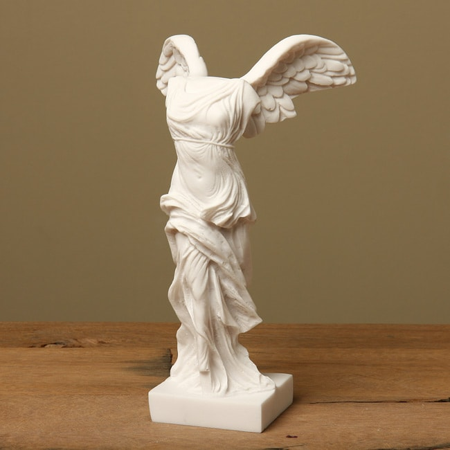 White Marble Statue : Shop white bonded marble nike of samothrace statue free